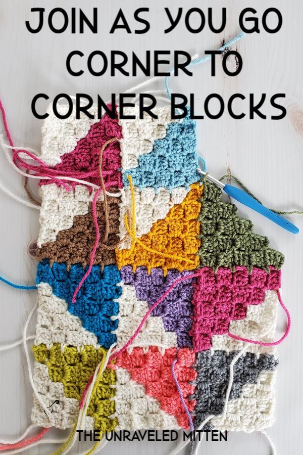 Join as You Go Corner to Corner Crochet Blocks Tutorial | The Unraveled Mitten