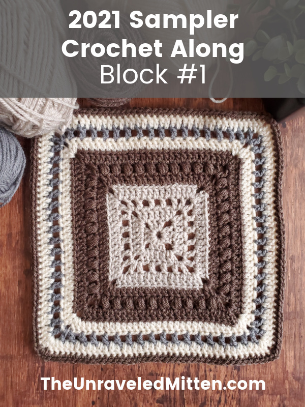 The Garden Revival crochet blanket square features blocks of color, textured puff stitches and a touch of filet mesh. Add this easy crochet square to your next blanket project. This pattern is part of the 2021 Stash Busting Sampler Afghan on The Unraveled Mitten
