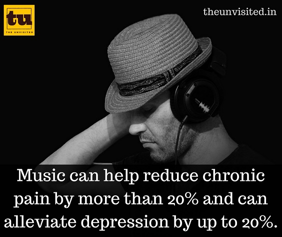 Music can help reduce chronic pain by more than 20% and can alleviate depression by up to 20%