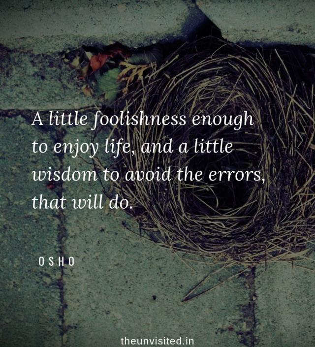 Osho Rajneesh spiritual love self wisdom writings Quotes The Unvisited quote A little foolishness enough to enjoy life