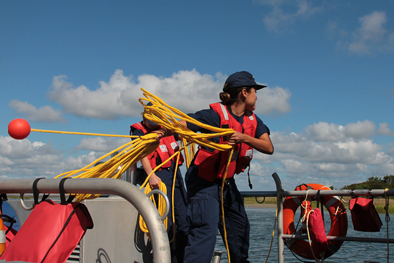 Practicing heaving the line at Emerald Isle Coast Guard Search and Rescue