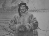 Richard Byrd models his fur flight suit. One of the lesser dangers of the test flights was the risk of frostbite.