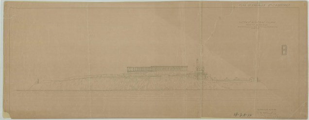 RG26: Lighthouse Plans; CA, Alcatraz Island, #1. Sketch of Alcatraz Island from the South West, showing proposed lighthouse and proposed prison building, 1908.