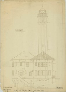 RG26: Lighthouse Plans; CA, Alcatraz Island, #2. Southeast Elevation, 1909.