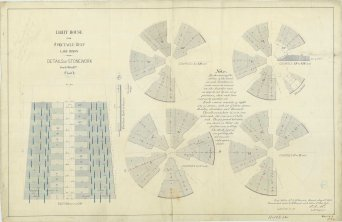 RG26: Lighthouse Plans; MI, Spectacle Reef; #13. Details of Stonework, 1871.