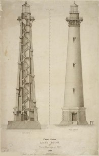RG26: Lighthouse Plans; NC, Cape Hatteras; #20. Elevation and Section of First Order Lighthouse at Cape Hatteras, North Carolina, 1869. https://catalog.archives.gov/id/731255