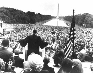 "Civil Rights Leader, Dr. Martin Luther King Jr. addresses the crowd during the March on Washington. It was during this address that he made his ""I Have a Dream"" speech. (330-CFD-DA-SD-05-00640)"