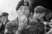 """(Local Identifier: 330-CFD-DA-SN-86-08544) """"Members of the 82nd Airborne Divison attend a cookout in their honor while visiting the town. They are in France to participate in the 40th anniversary celebration of D-day, the invasion of Europe"""""""