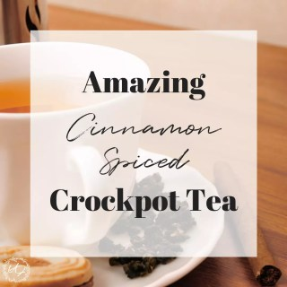 This easy to make, not to mention super healthy, cinnamon spiced crock pot (no so much tea) just may be your new favorite holiday get-together drink! One drink you will be hooked and so will your guests. #holidaydrinks #crockpotrecipes #fallrecipes #crockpotdrinkrecipes #holidayrecipes #falldrinkrecipes #holidaydrinkrecipes #crockpotdrinks