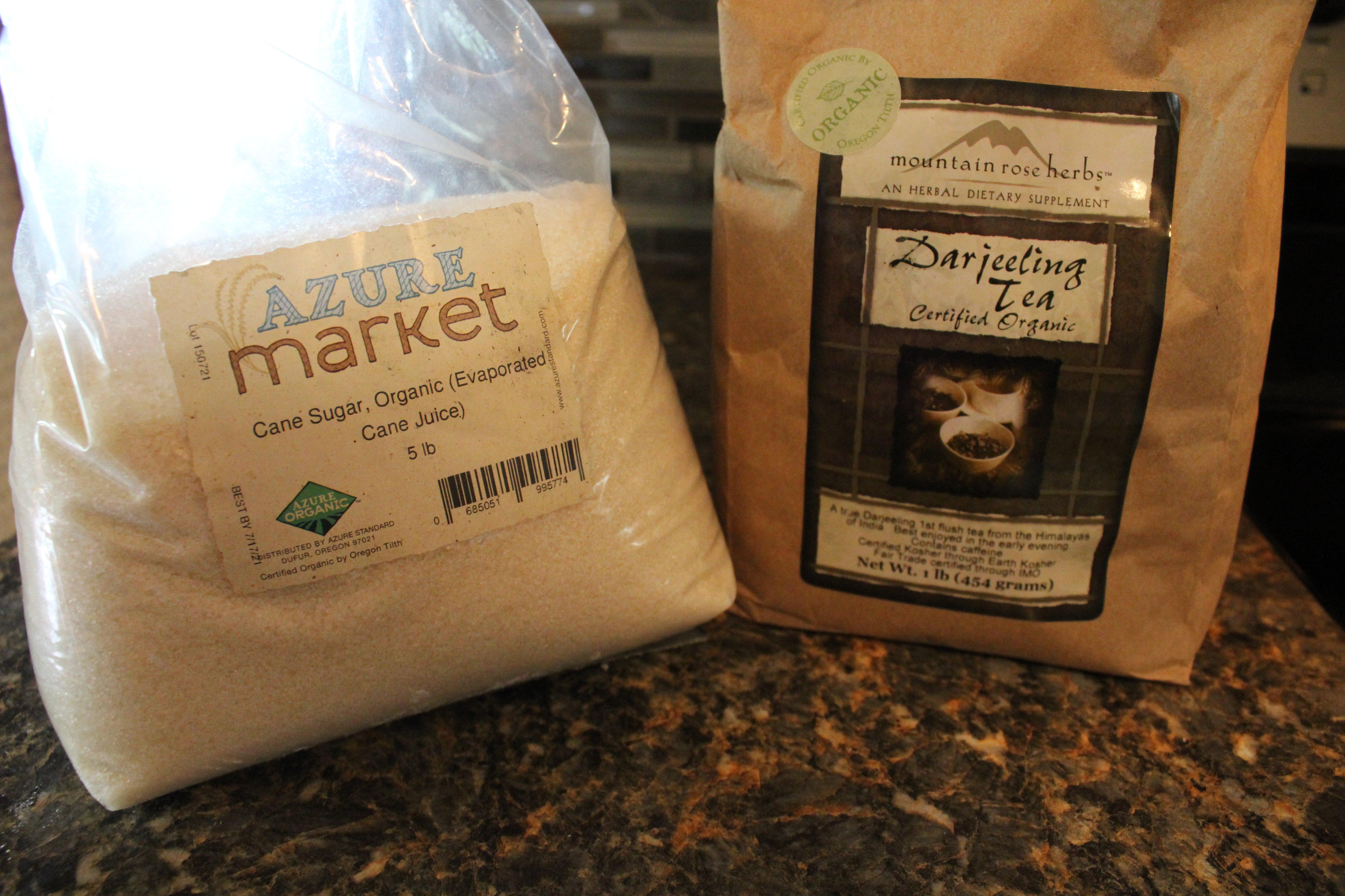 Organic sugar and tea for brewing kombucha