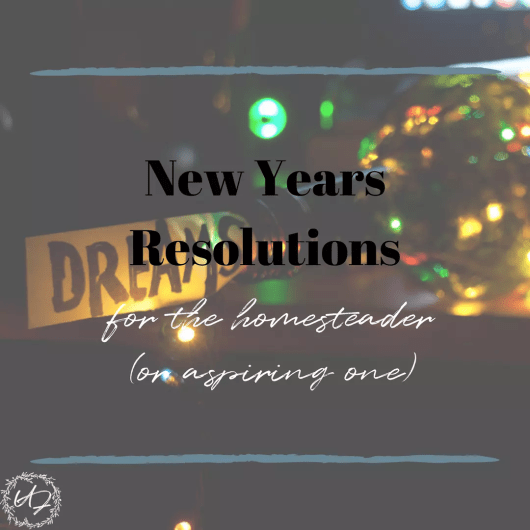 New Years resolutions for the Homesteader