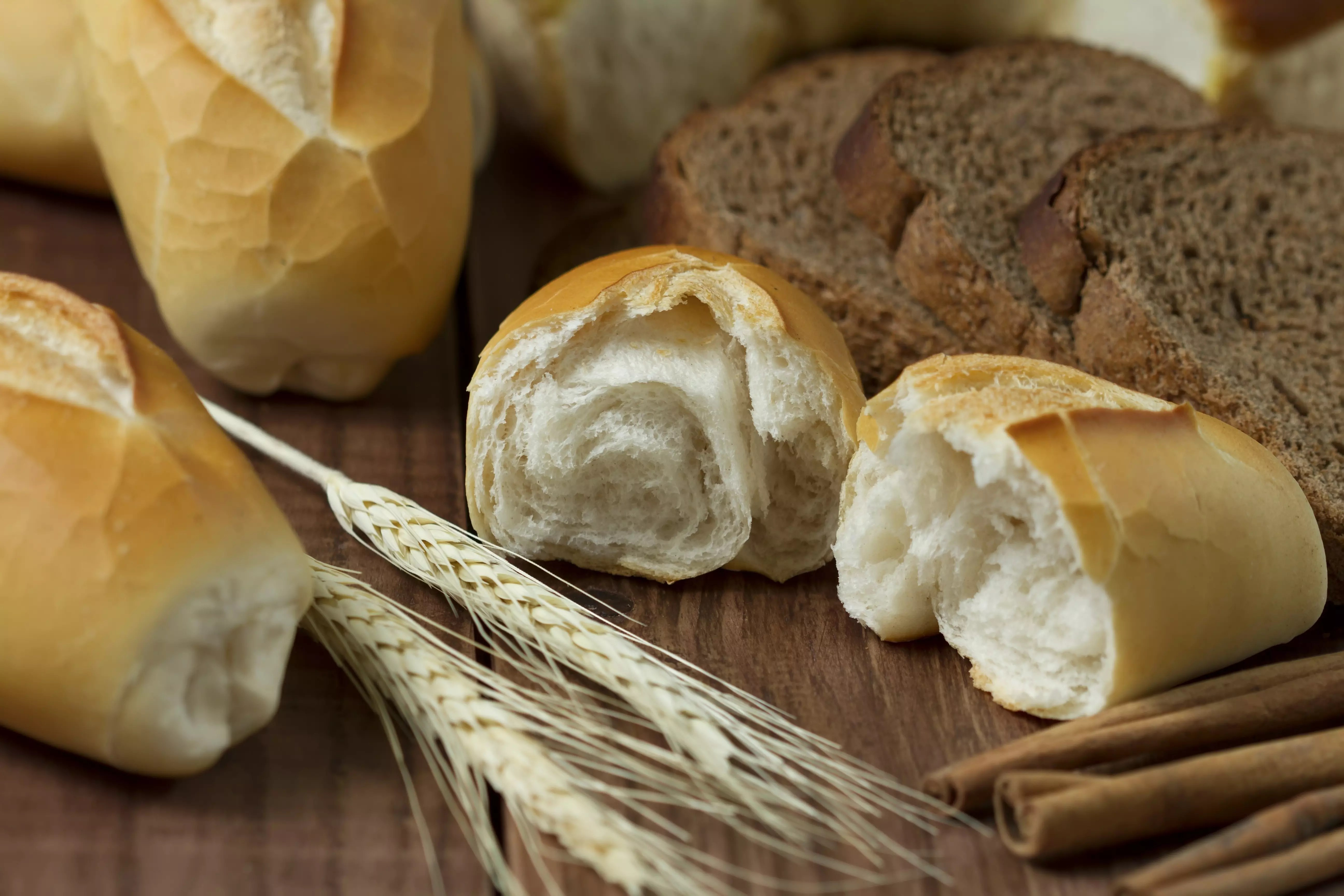 Wheat and fresh-baked breads
