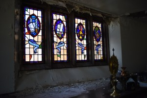 Sacristy Windows with Crumbling Plaster