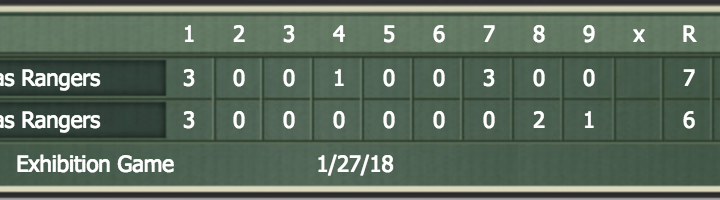 Fake Baseball: All-Time Rangers tournament, Round One (Day Two)