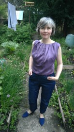 lilac blouse denim trews
