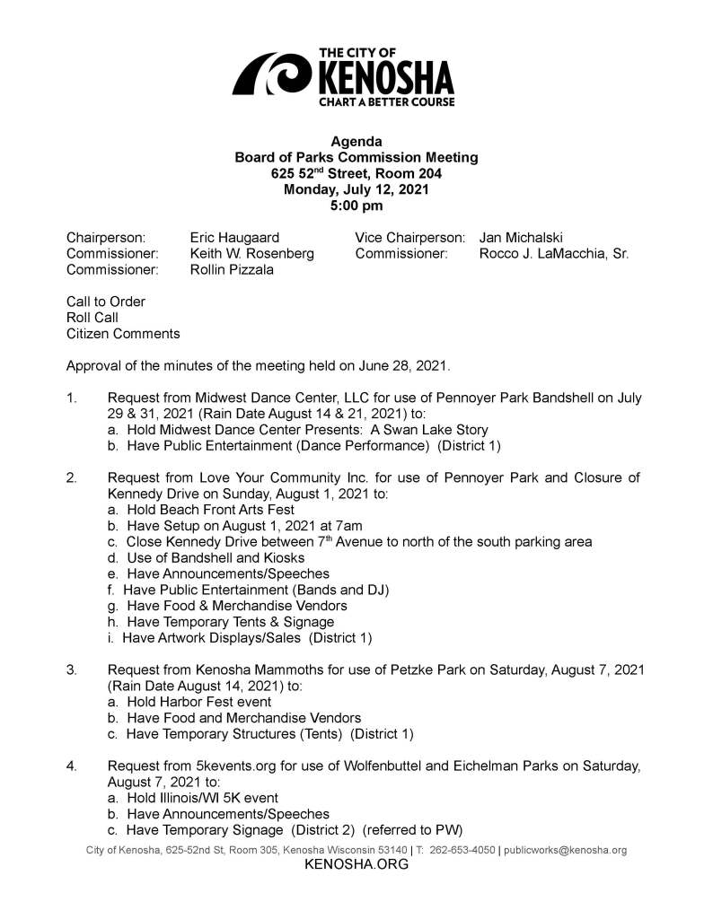 meetings; tonight's meetings; licenses and permits; public works; parks; city committees