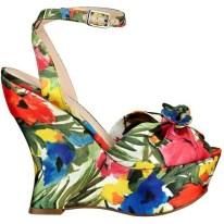 PRINT| GUESS Jobina Floral-Print Wedges, $40, available at Guess.com