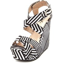 STRIPES| Geo Print Satin Wedges, $36, available at charlotterusse.com