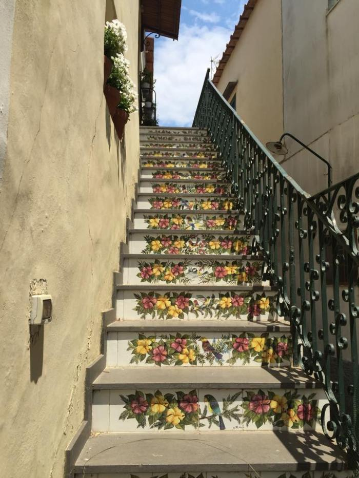 Europe, Italy, Travel, Capri, Amalfi, Coast, Anacapri, town, square, stairs.