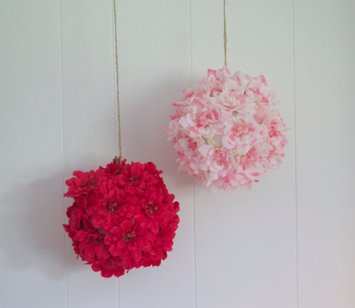 flowers, floral, flower pom, flower pom poms, poms, hanging flower poms, party decorations, artificial flowers, DIY