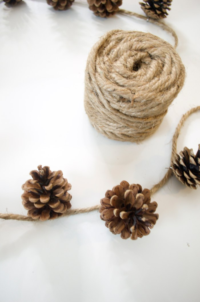 pinecones, garland, twine, hooks, christmas, decorations, holiday, decor, DIY