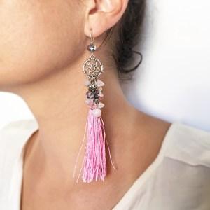 cercei ciucuri detasabili roz sashaccessories