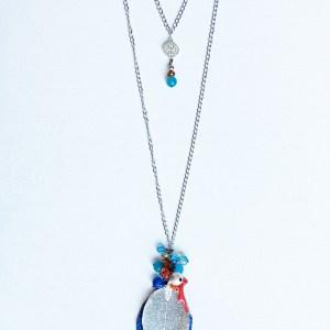 colier argintiu lung frunza albastra sashaccessories