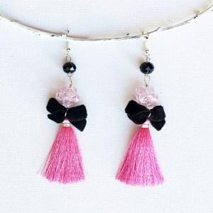 cercei statement ciucuri matase roz sash accessories
