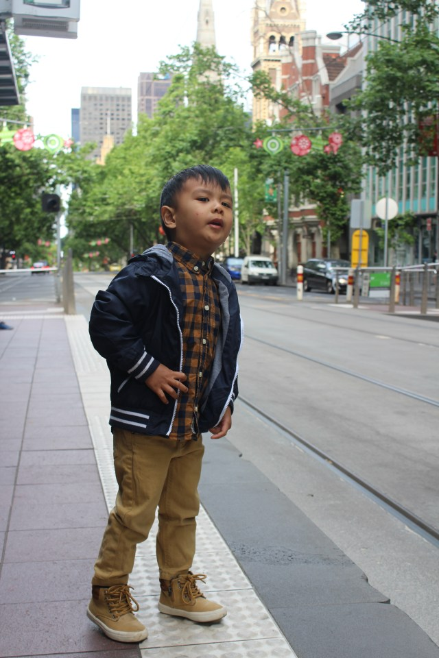Styling Daniel waiting for the tram