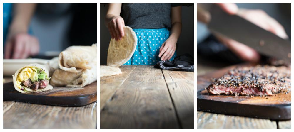 Pepper Crusted Skirt Steak Breakfast Tacos