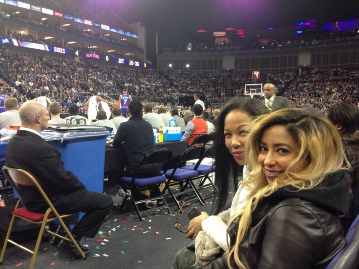 Mona and I behind the Knicks bench in the O2 Arena