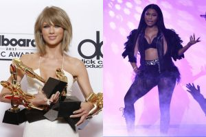 """Oregon Live depicts Taylor Swift with many awards while Nicki Minaj is in a """"sassy"""" pose."""