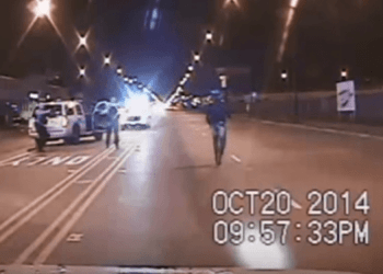 screen shot of police dash cam footage
