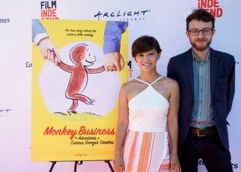 """Director Ema Ryan Yamazaki and animator Jacob Kafka at the world premiere of ""Monkey Business: The Adventures of Curious George's Creators."""