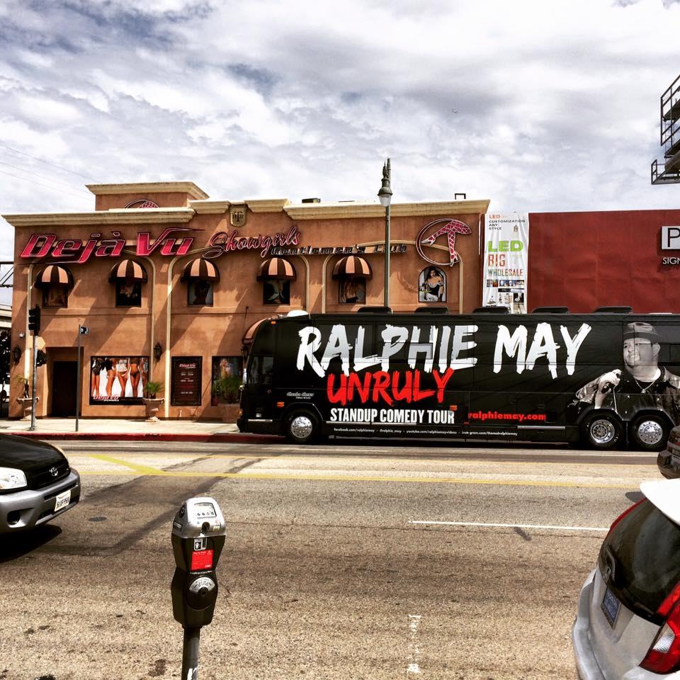 May's tour bus