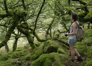 Immy holding her camera while standing on mossy rocks and looking into the woods