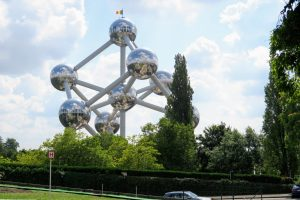 The view of the Atomium from the Brussels Design Museum