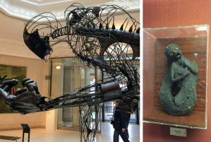 It is never dull in Hull | A large, modern metal skeletal sculpture in the museum and a fake mermaid body