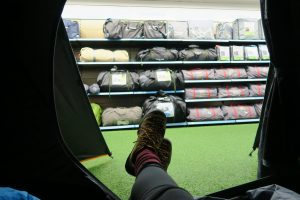My feet sticking out of a tent in Go outdoors Preston