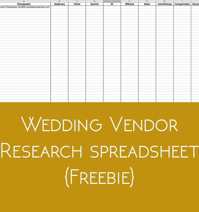 Wedding Vendor Research {Freebie}