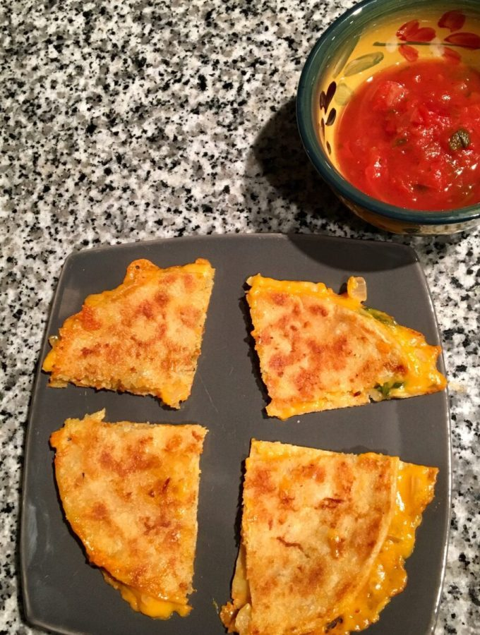 Dairy-Free Cheese and Spinach Quesadilla