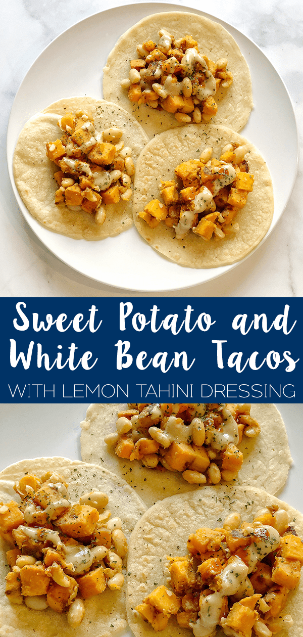 Sweet Potato and White Bean Tacos drizzled in lemon tahini dressing folded up in homemade tortillas will take your taco nights to the next level.