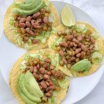 tostadas, pinto beans, potatoes, avocado, recipe