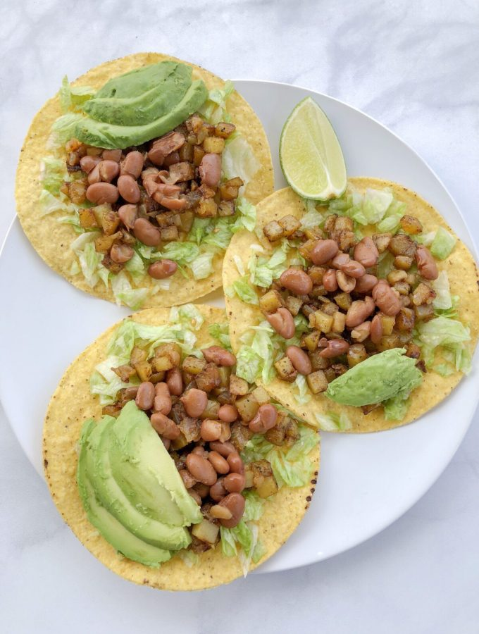 tostadas, pinto beans, potatoes, avocado, recipe