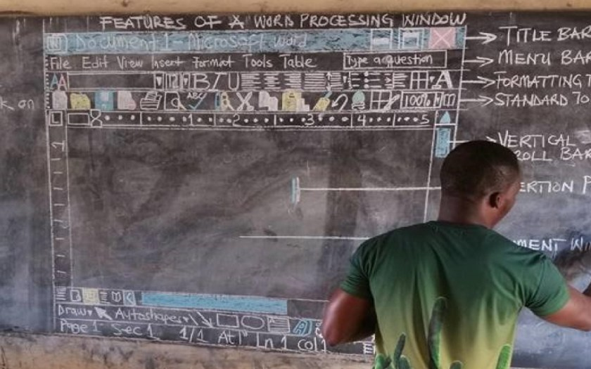 Ghana teacher recreates Microsoft Word window using chalk and a blackboard.
