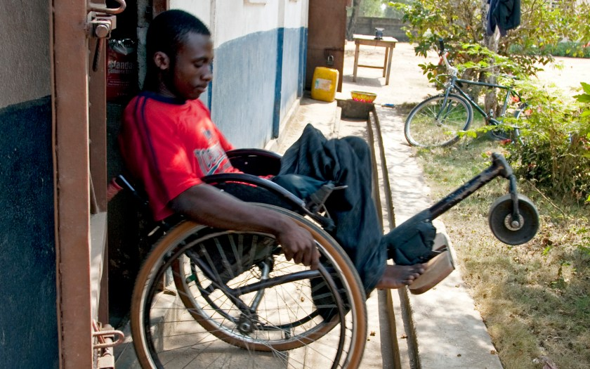 A man in a wheelchair (in Sierra Leone).