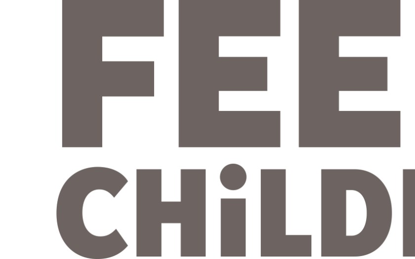 Feed the Children logo. A square made of colorful rectangular paired shapes sit at left.