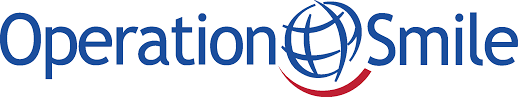 Operation smile logo. A blue globe with a red smiling line beneath.