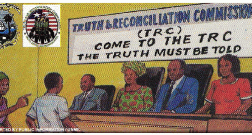 "Depiction of the Truth and Reconciliation Commission with a sign that says ""Come to the TRC. The truth must be told."""