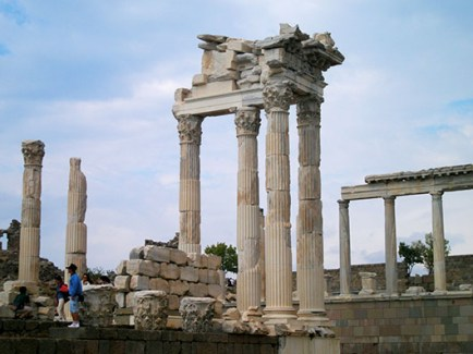 The surviving columns of the Temple of Trajan